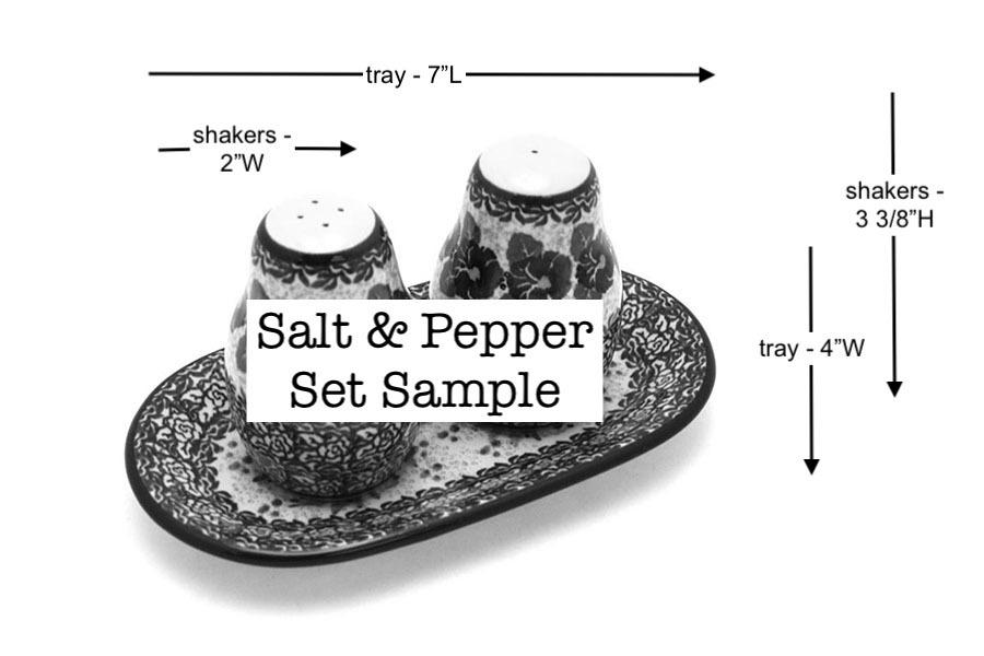 Polish Pottery Salt & Pepper Set - Peach Spring Daisy Image a