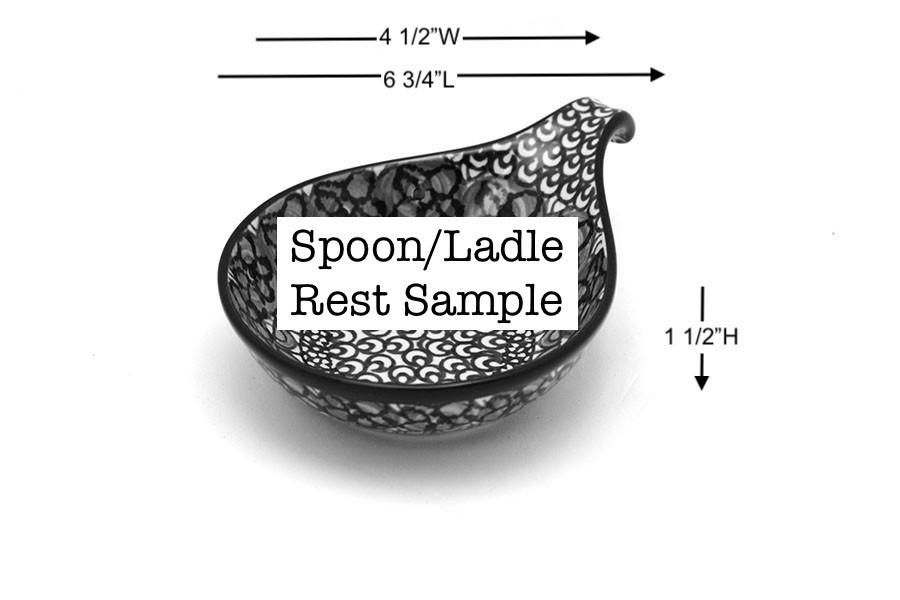 Polish Pottery Spoon/Ladle Rest - Maraschino Image a
