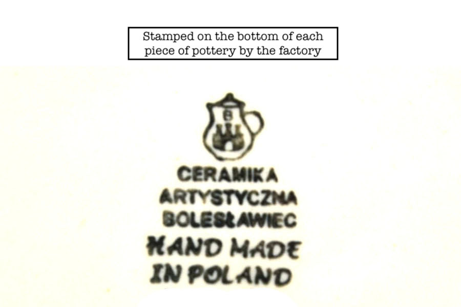 Polish Pottery Utensil Holder - Peacock Image a
