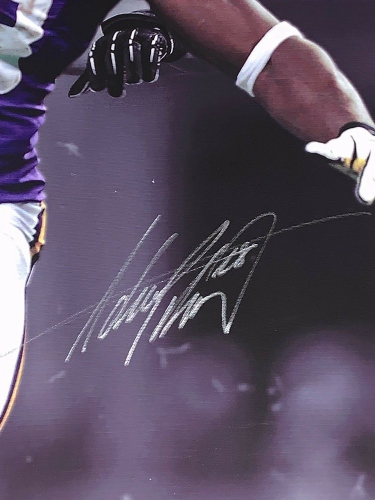 772b7aa8 Adrian Peterson Autographed Signed Minnesota Vikings 43X36 Canvas ...