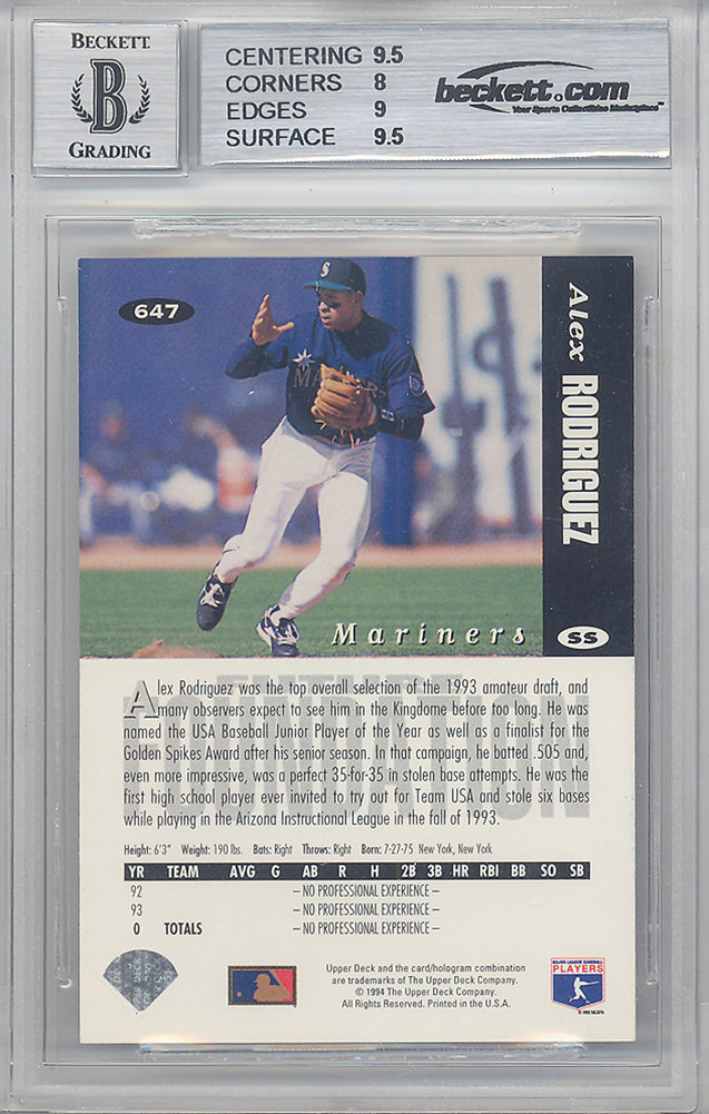 Alex Rodriguez Autographed Signed 1993 Classic Rookie Card