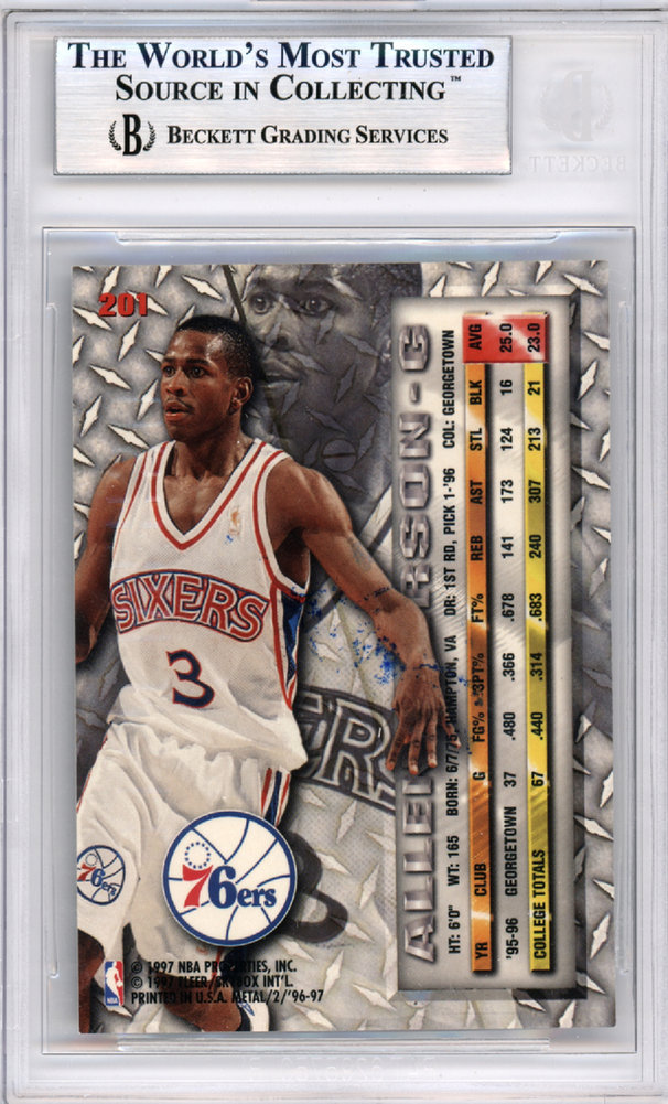 42033a99 Allen Iverson Autographed Signed 1996-97 Fleer Metal Rookie Card #201 Philadelphia  76ers - Beckett Authentic. Loading Images... $263.99 Price