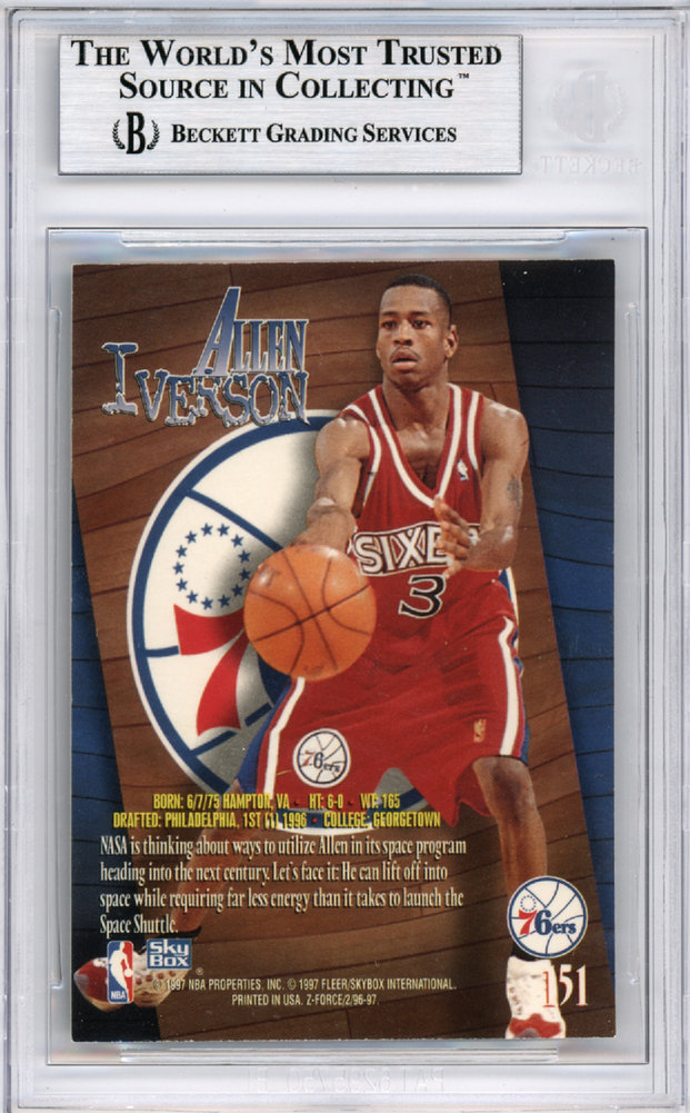 4beb109b Allen Iverson Autographed Signed 1996-97 Skybox Z-Force Rookie Card #151 Philadelphia  76ers - Beckett Authentic. Loading Images... $263.99 Price