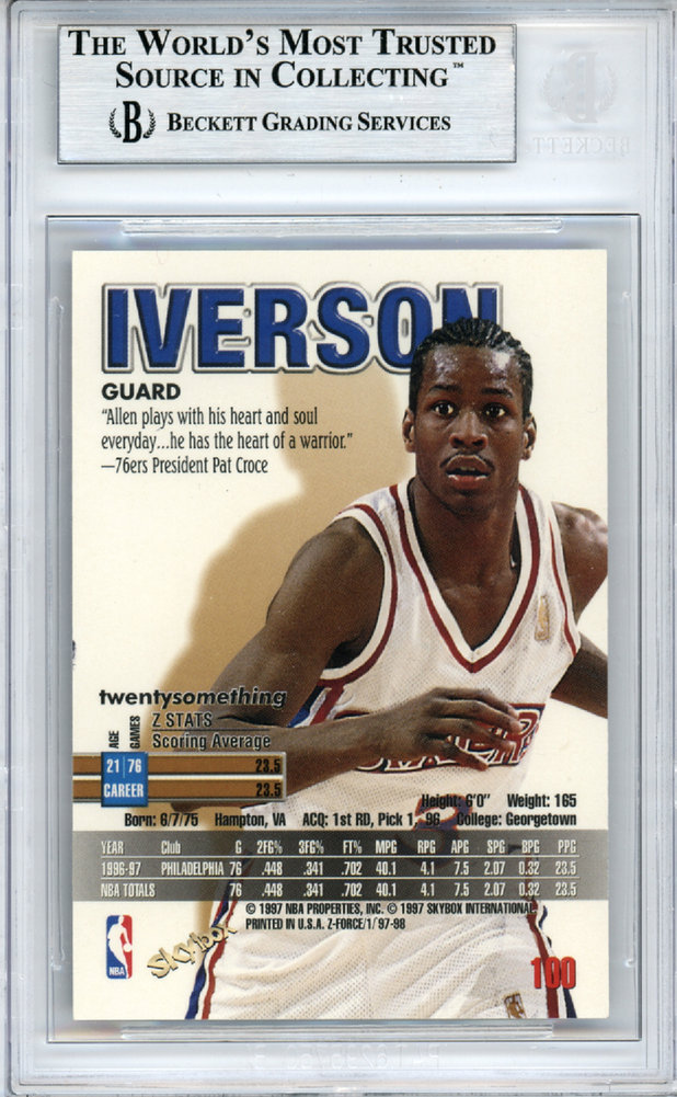 1206cb93857 Allen Iverson Autographed Signed 1997-98 Skybox Z-Force Card #100  Philadelphia 76ers - Beckett Authentic. Loading Images... $217.99 Price