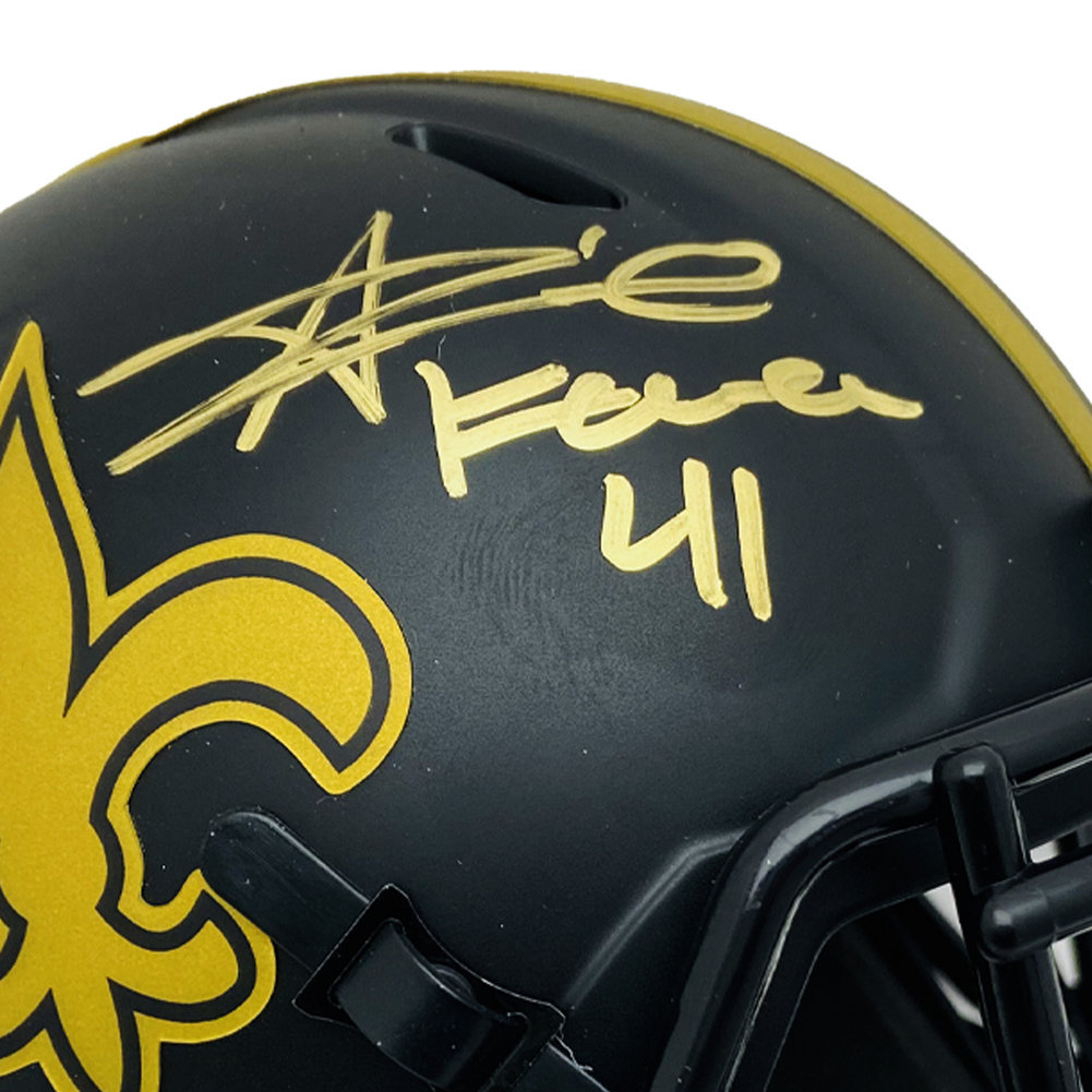 Alvin Kamara Autographed New Orleans Saints Eclipse Riddell Speed Mini Helmet #41 Inscription Signed in Gold - Beckett Authentic Image a