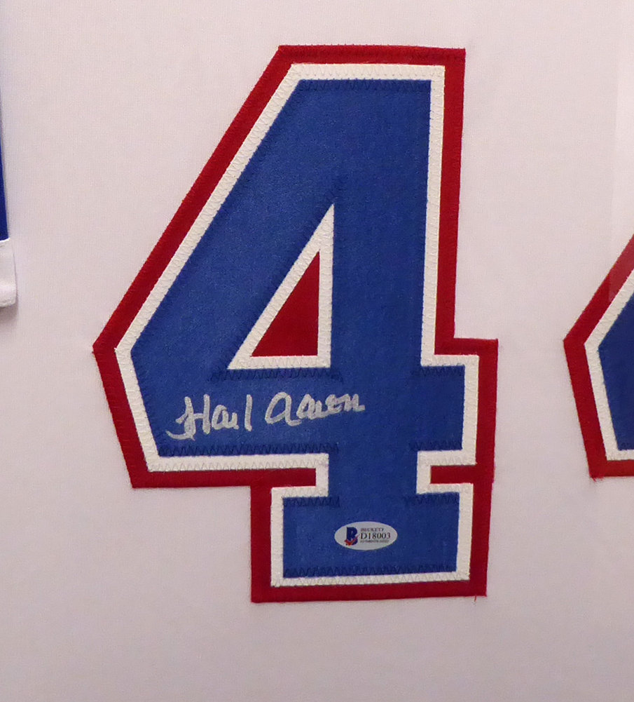 official photos 20a4b c89ac Atlanta Braves Hank Aaron Autographed Signed Framed White ...