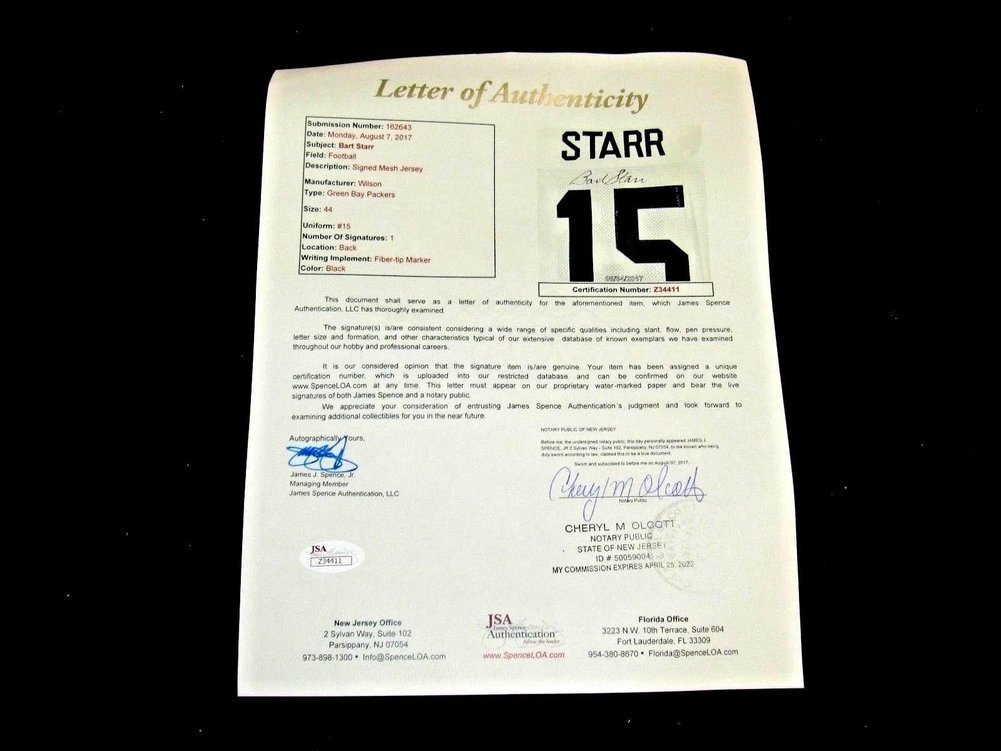 Bart Starr Hof 2x Sb Mvp Green Bay Packers Signed Autograph Wilson