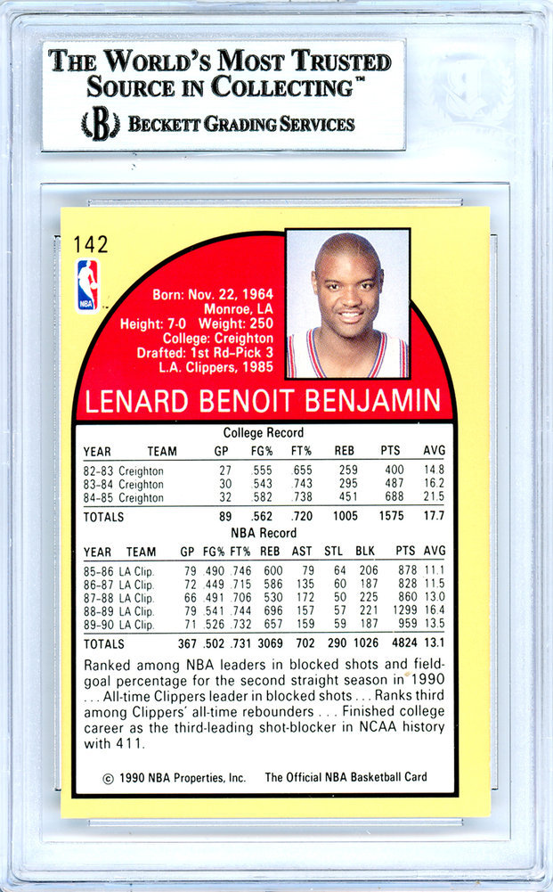 Benoit Benjamin Autographed Signed 1990-91 Hoops Card Autographed Signed #142 Los Angeles Clippers - Beckett Authentic Image a