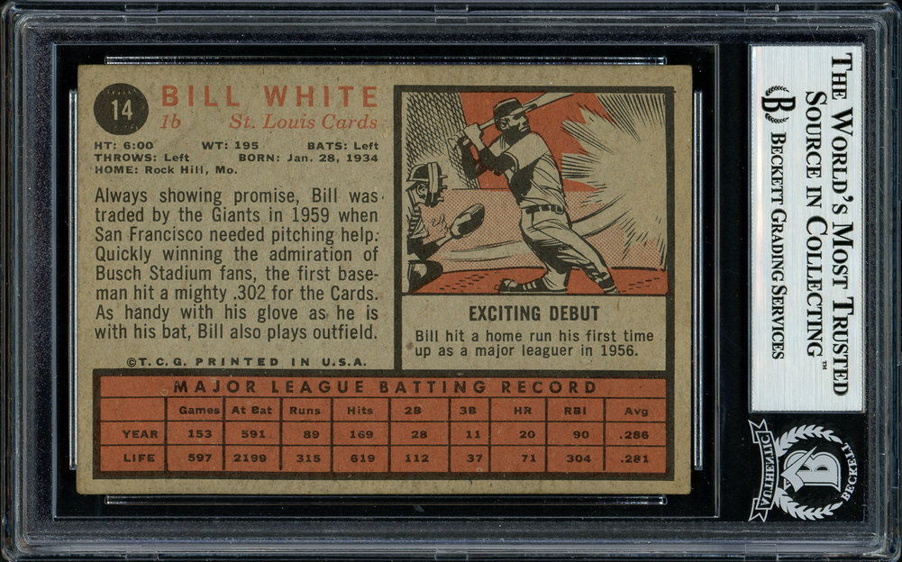 Bill White Autographed Signed 1962 Topps Card 14 St. Louis Cardinals Beckett BAS 11481370 Image a