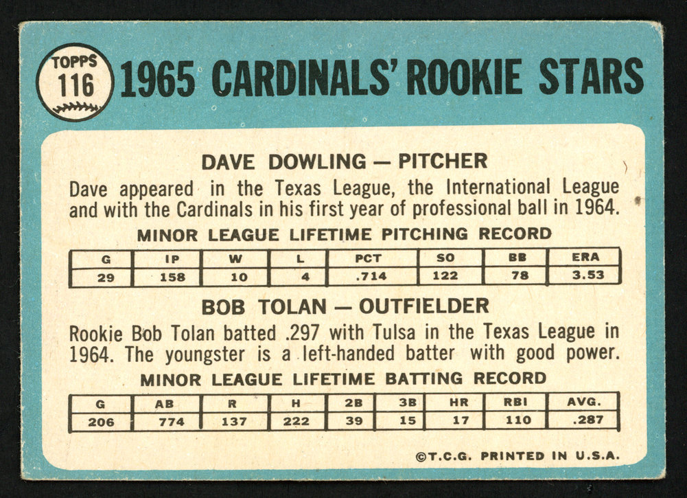 Bob Bobby Tolan Autographed Signed 1965 Topps Rookie Card #116 St. Louis Cardinals - Certified Authentic Image a