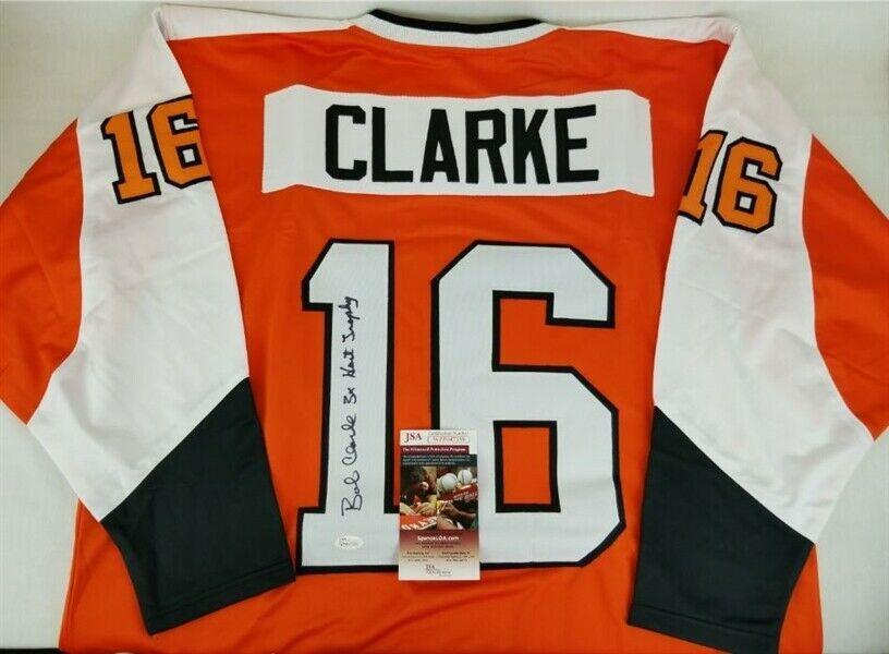 Bobby Clarke Autographed Signed 3X Hart Trophy Philadelphia Flyers Jersey (JSA COA) Image a