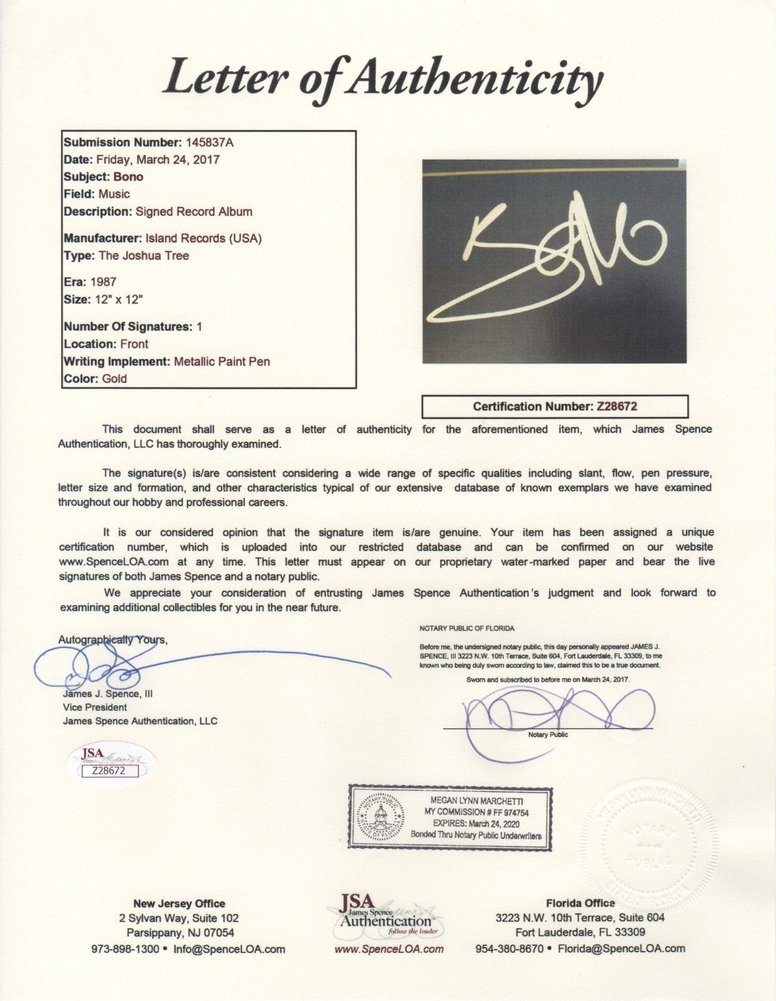 Bono Autographed Signed U2 The Joshua Tree Record Album Memorabilia
