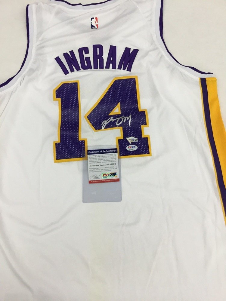 best sneakers a9d3a 6ef97 Brandon Ingram Lakers Autographed Signed Memorabilia White ...