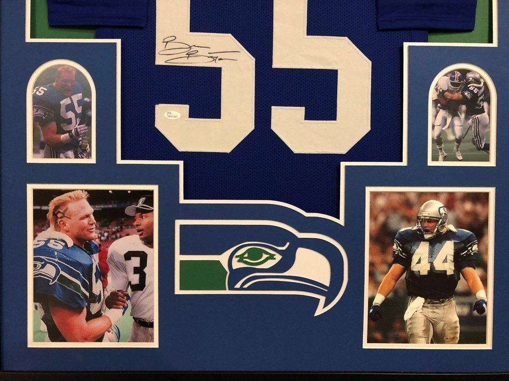 aae1404b2bc Brian Bosworth Autographed Signed Custom Framed Seattle Seahawks Blue Jersey  Memorabilia JSA COA. Loading Images... $1393.99 Original