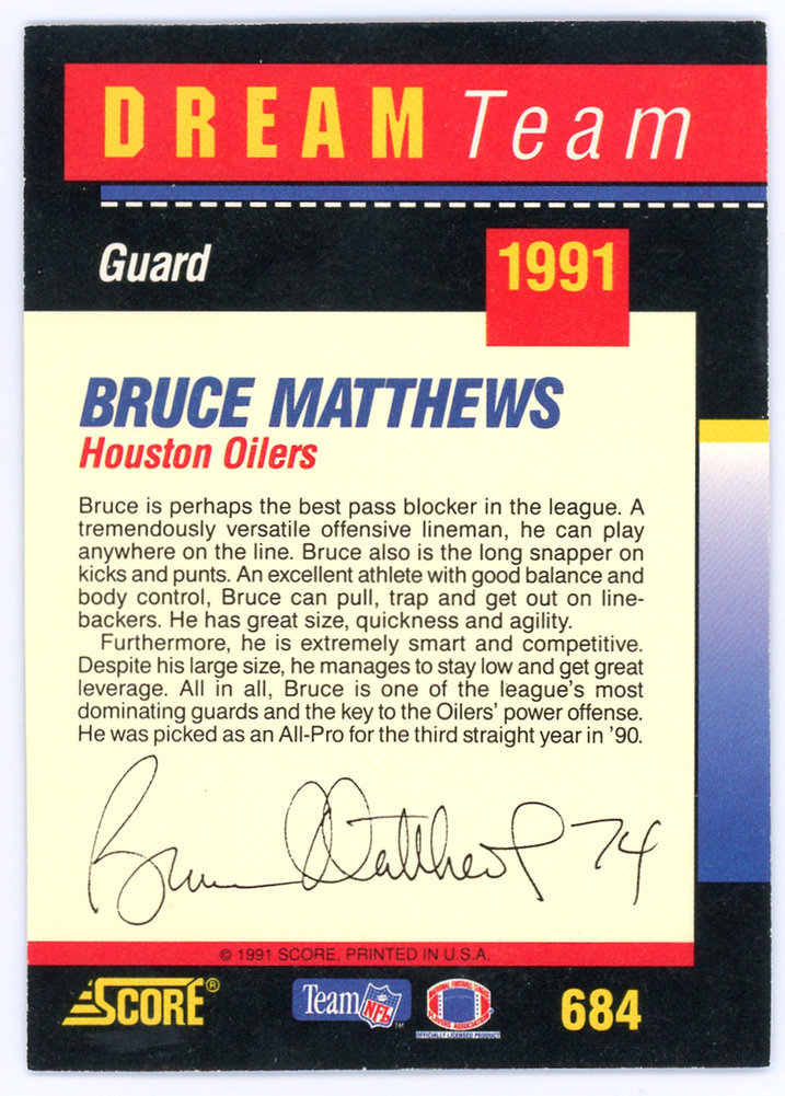 Bruce Matthews Autographed Signed Auto 1991 Score Card #684 Houston Oilers - Certified Authentic Image a