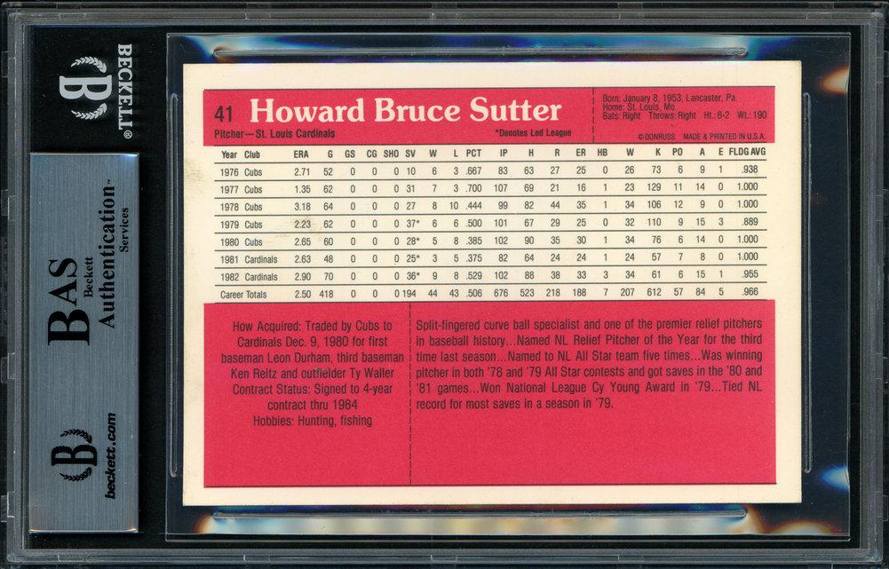 Bruce Sutter Autographed Signed 1983 Donruss Action All Stars Card 41 St. Louis Cardinals Beckett BAS 11484623 Image a