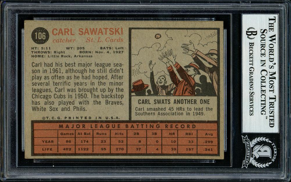 Carl Sawatski Autographed Signed 1962 Topps Card 106 St. Louis Cardinals Beckett BAS 11481399 Image a