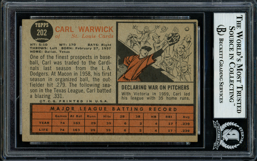 Carl Warwick Autographed Signed 1962 Topps Rookie Card 202 St. Louis Cardinals Beckett BAS 11481436 Image a