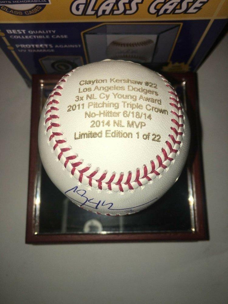 Clayton Kershaw Autographed Signed Career Stat Baseball Le 1/22 JSA Logo Case 2008 Topps Rc Image a