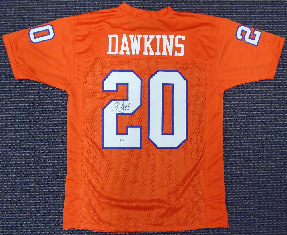 Clemson Tigers Brian Dawkins Autographed Signed Orange Jersey Beckett BAS Image a