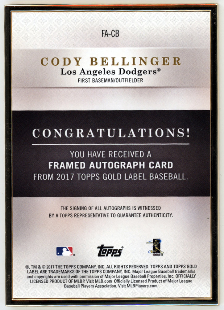 Cody Bellinger Autographed Signed Auto 2017 Topps Gold Label Rookie