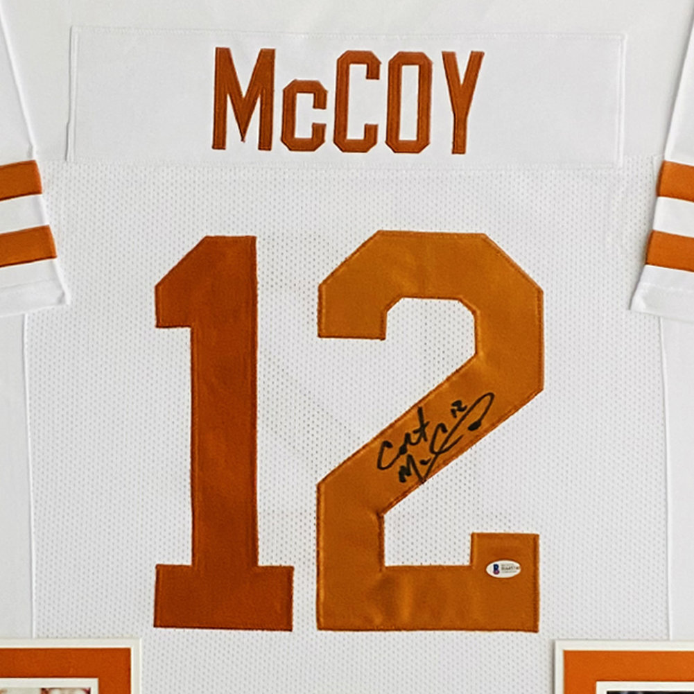 Colt McCoy Texas Longhorns Autographed Signed Deluxe Framed White Jersey - Beckett Authentic Image a