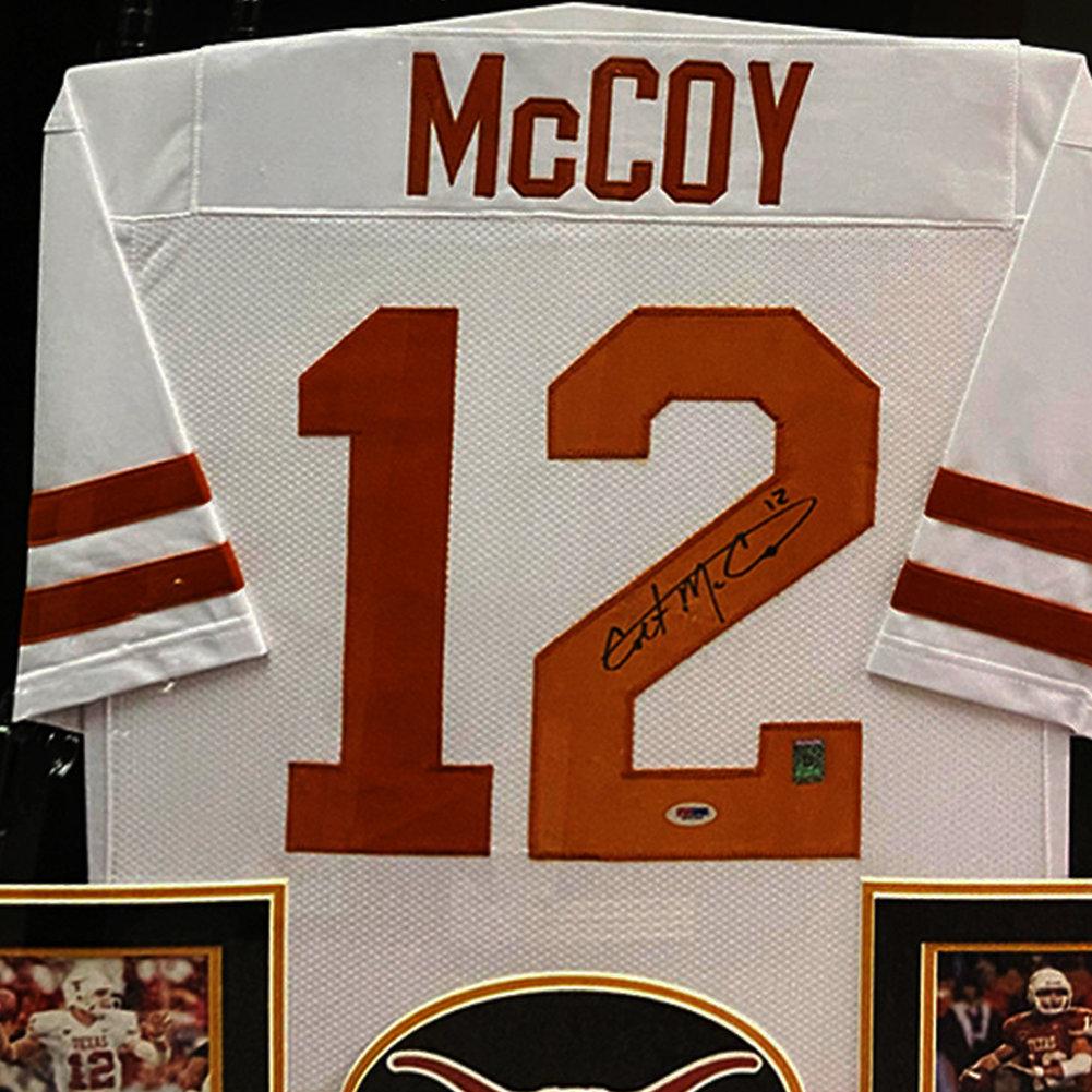 Colt McCoy Texas Longhorns Autographed Signed Framed White Jersey - PSA/DNA Authentic Image a