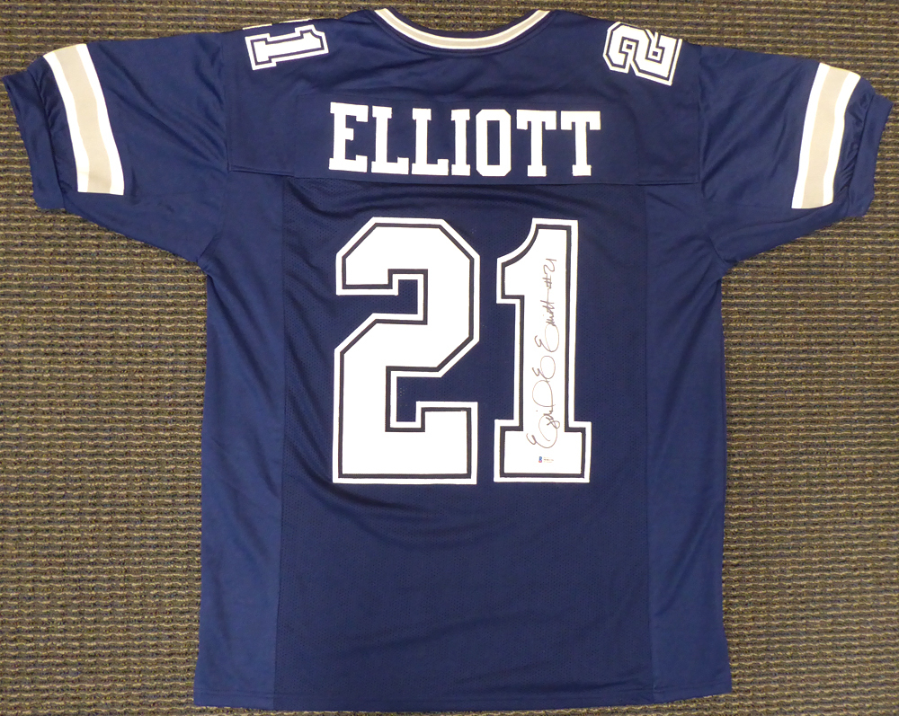 size 40 afe0b 4e249 Dallas Cowboys Ezekiel Elliott Autographed Signed Blue ...