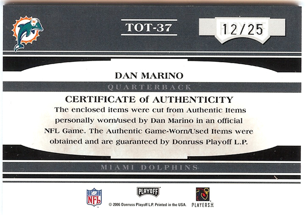 Dan Marino 2006 Playoff Absolute Tools Of The Trade Jersey Card #TOT-37 Miami Dolphins #12/25 SKU #103358 Image a