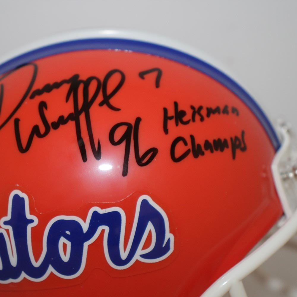 Danny Wuerffel Florida Gators Autographed Signed Riddell Mini Helmet w/ 96 Heisman/Champs Inscription - JSA Authentic Image a