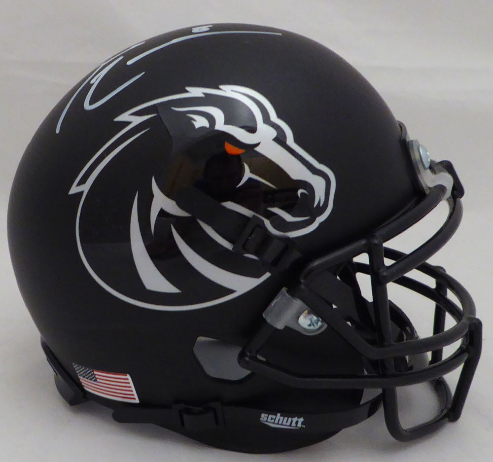 Demarcus Lawrence Autographed Signed Auto Boise State Broncos Matte Black Mini Helmet - Beckett Certified Image a