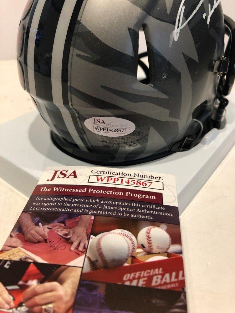 Denzel Ward Autographed Signed Signed Ohio State Buckeyes Camo Mini Helmet JSA COA Image a