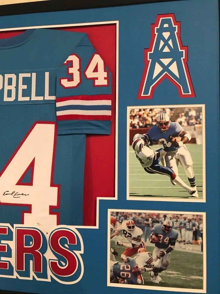 952d68ecb Earl Campbell Autographed Signed Custom Framed Houston Oilers Jersey 2 JSA  Authentic. Loading Images...  843.99 Original