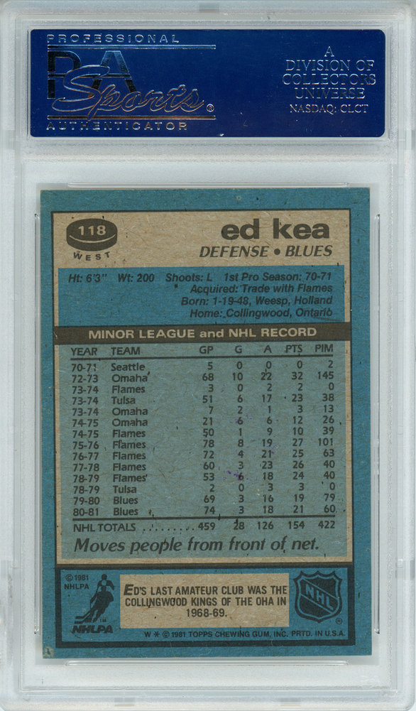 Ed Kea Autographed Signed 1981-82 Topps Card #118 St. Louis Blues - PSA/DNA Authentic Image a