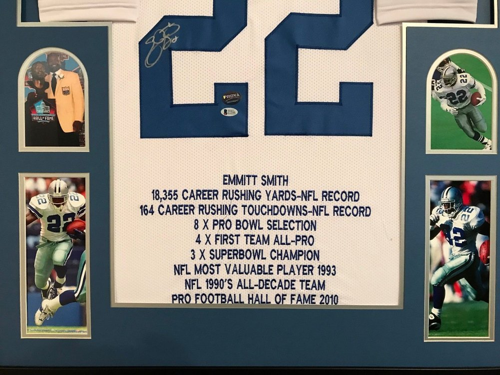 28d65b000 ... Emmitt Smith Autographed Signed Custom Framed Dallas Cowboys Stat  Jersey 1 - Beckett Authentic Image a ...