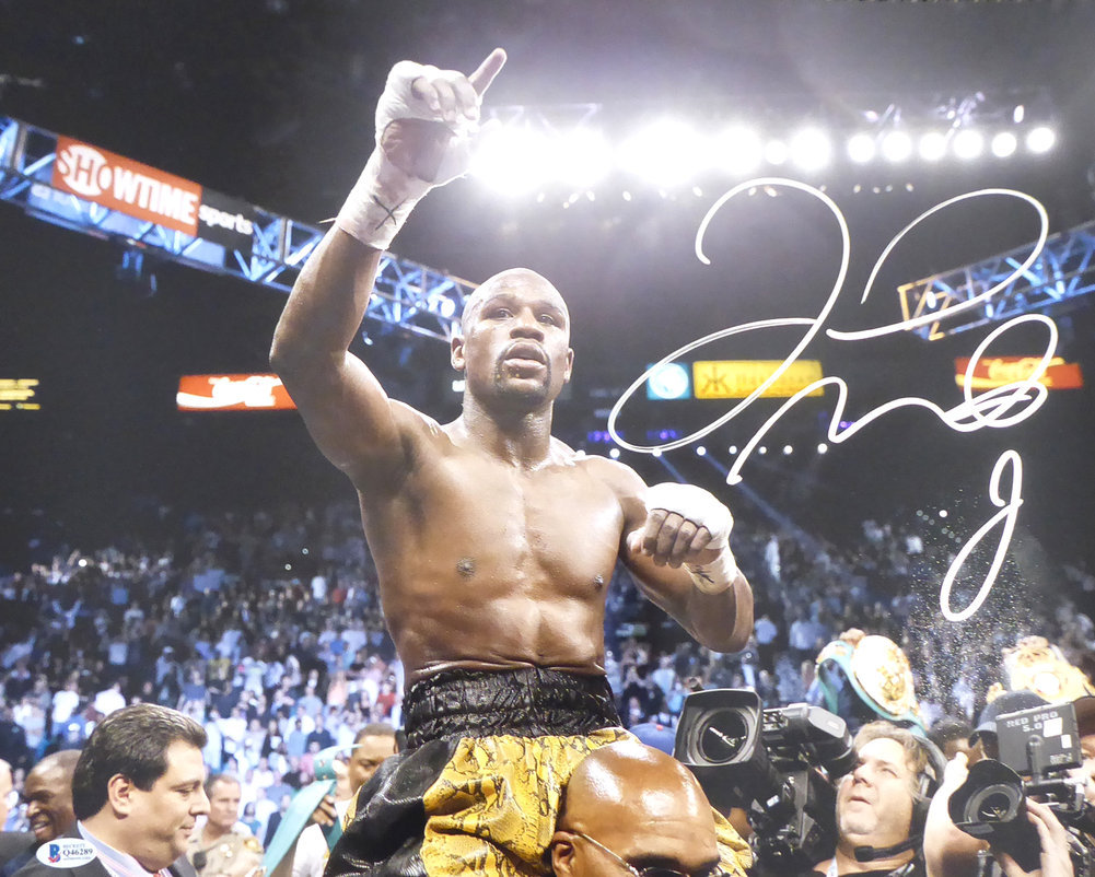 Floyd Mayweather Jr. Autographed Signed Framed 16x20 Photo Beckett BAS Stock #162399 Image a