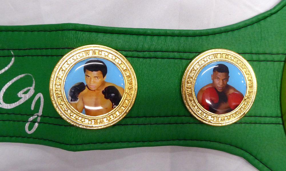 Floyd Mayweather Jr. Autographed Signed Green WBC Full Size Belt JSA Image a