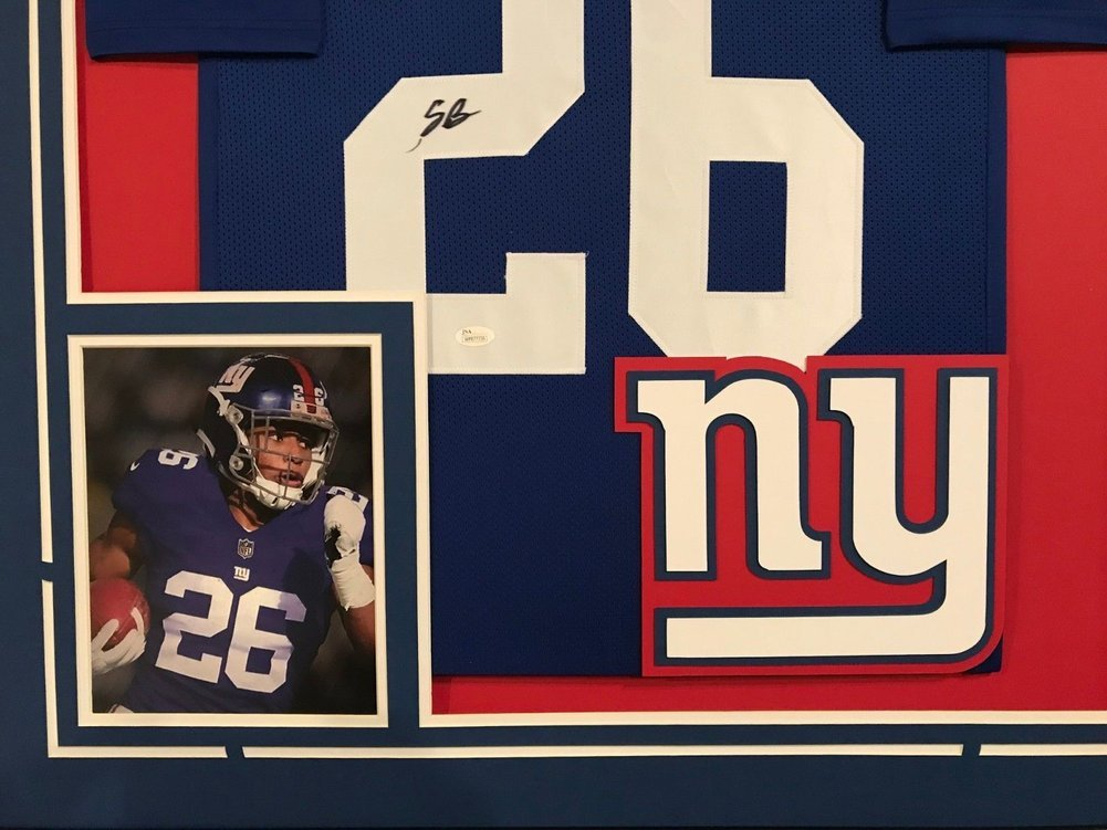 purchase cheap fcb2b fd31c Framed Saquon Barkley Autographed Signed New York Giants ...