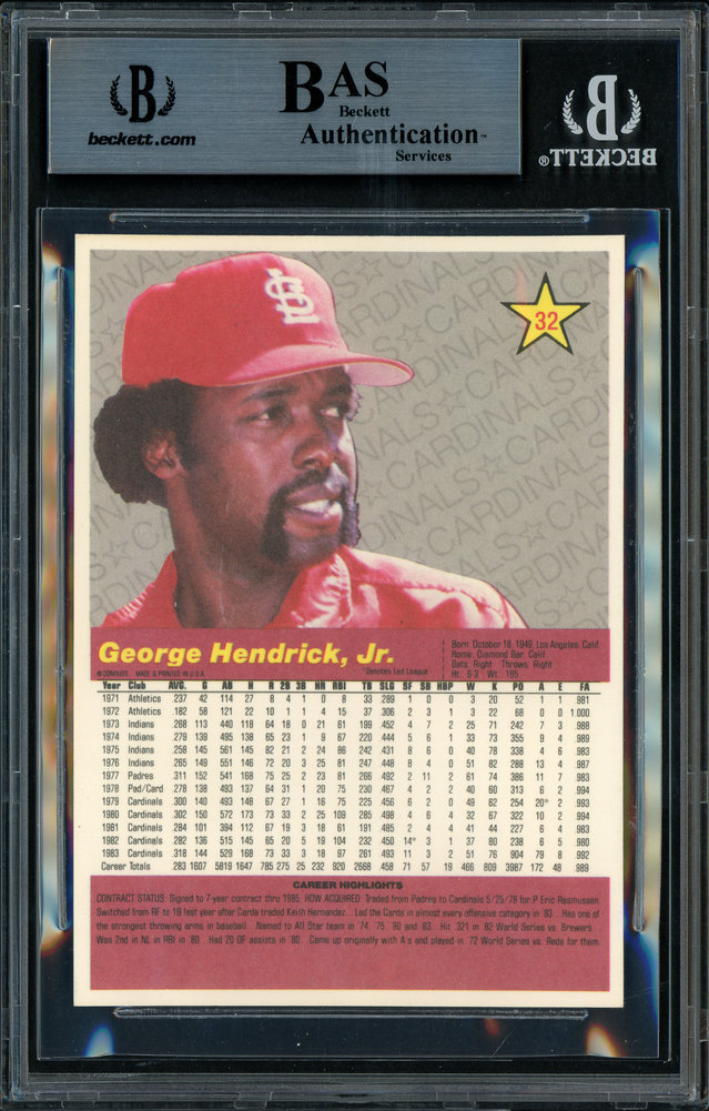 George Hendrick Autographed Signed 1984 Donruss Action All Stars Card 32 St. Louis Cardinals Beckett BAS 11484641 Image a