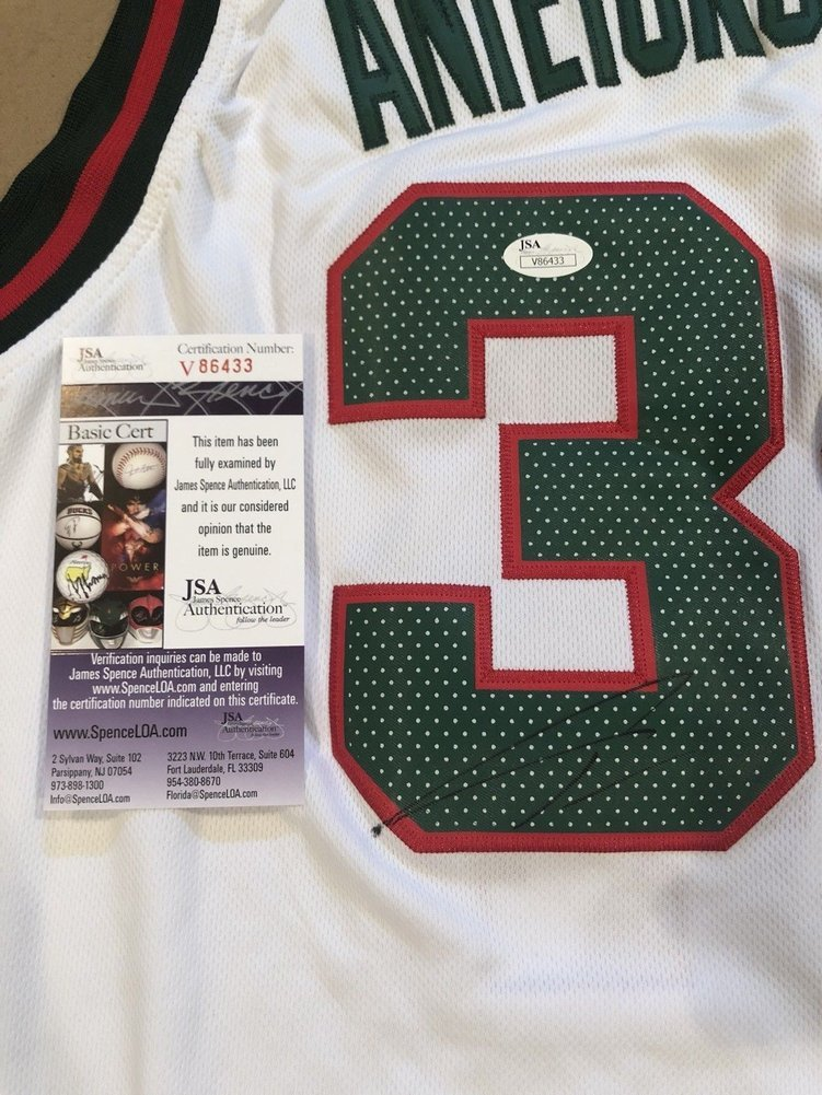 Giannis Antetokounmpo Autographed Signed Memorabilia Custom Milwaukee Bucks  Jersey (Size XL) With JSA. Loading Images...  722.99 Price 1b8f396ea