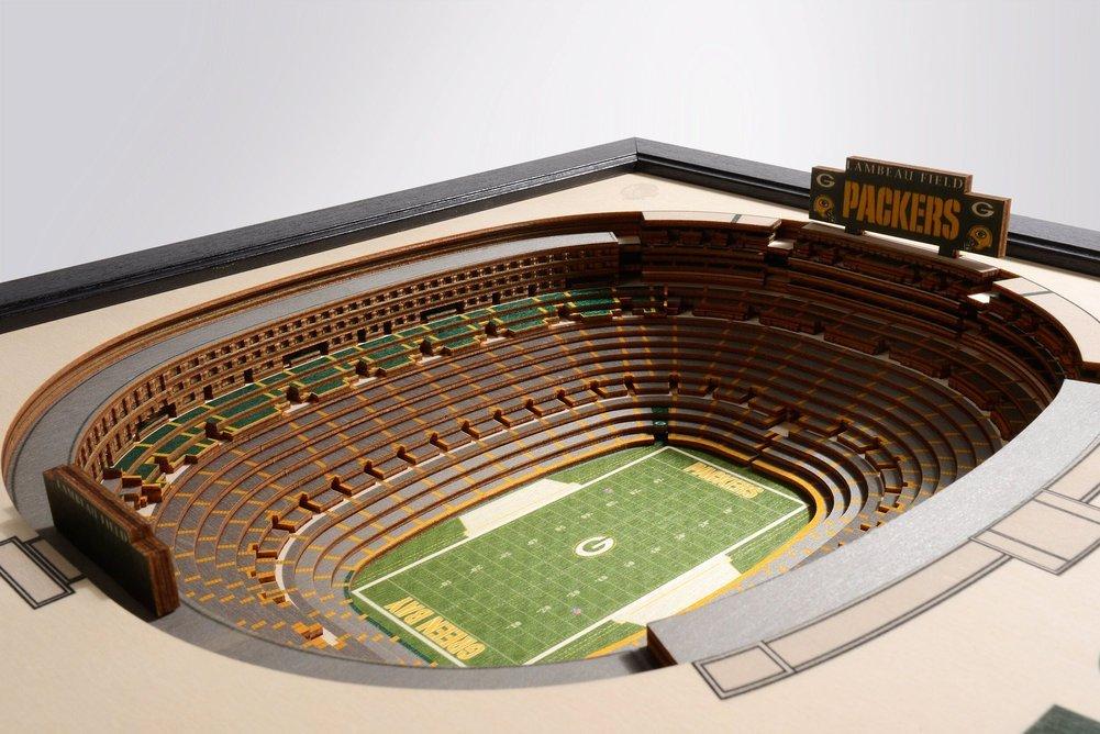 Green Bay Packers Wooden 25 Layer Stadiumview 3d Wall Art