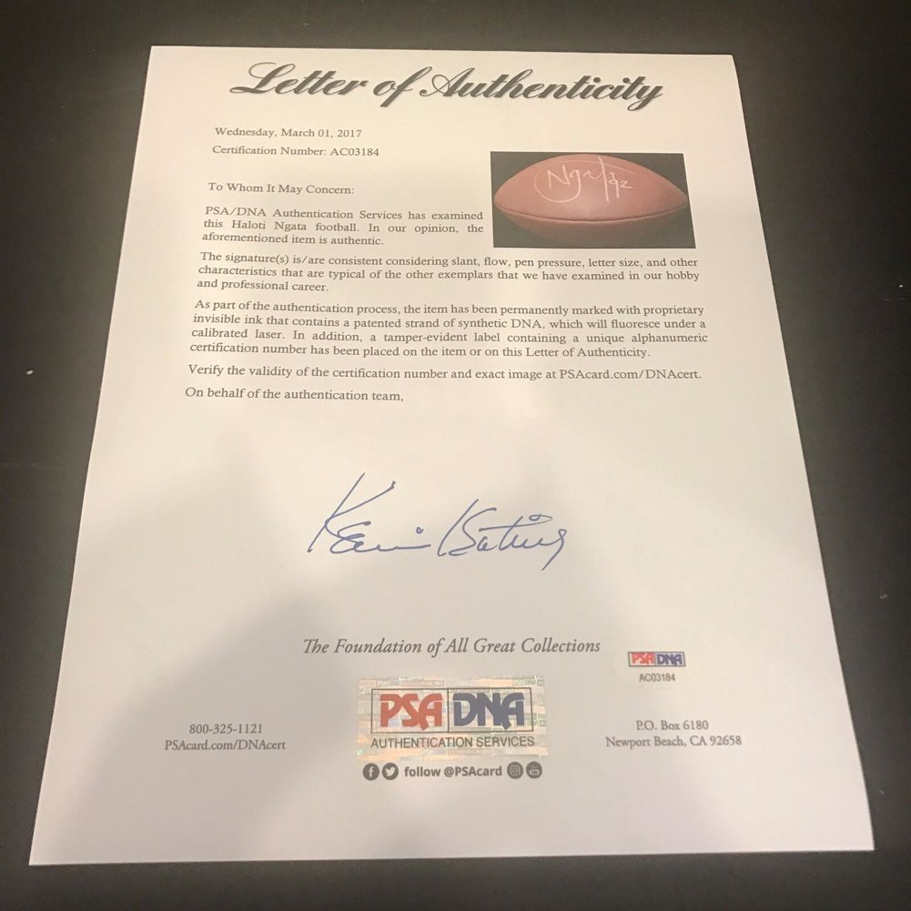 Haloti Ngata Autographed Signed Autographed NFL Wilson Football PSA DNA COA Ravens Image a