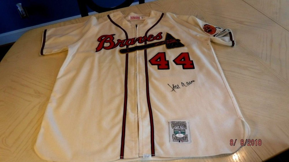 3023a3d3 Hank Aaron Autographed Signed 1957 Mitchell & Ness Braves Flannel Jersey  (Size XL) -JSA Loa #Y02971. Loading Images... $2202.99 Price