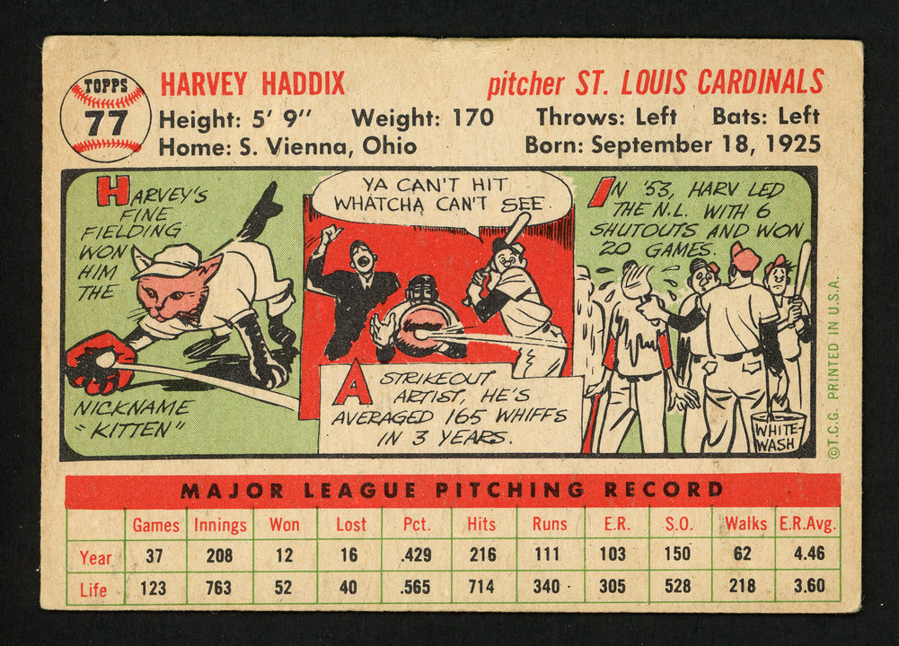Harvey Haddix Autographed Signed 1956 Topps Card #77 St. Louis Cardinals - Certified Authentic Image a