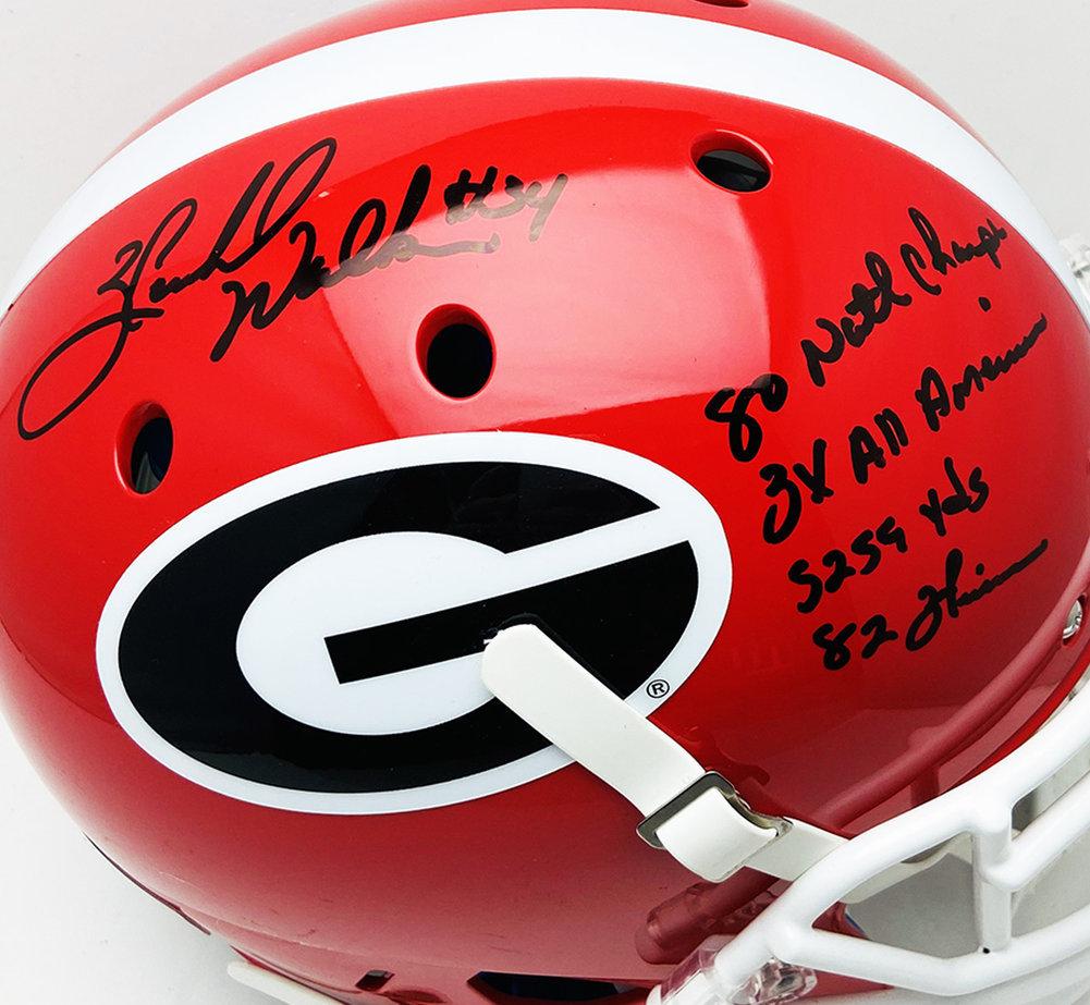 Herschel Walker Georgia Bulldogs Autographed Signed Schutt Full Size Authentic Helmet with Stats Inscription w/ Black Marker - Beckett Certification Image a
