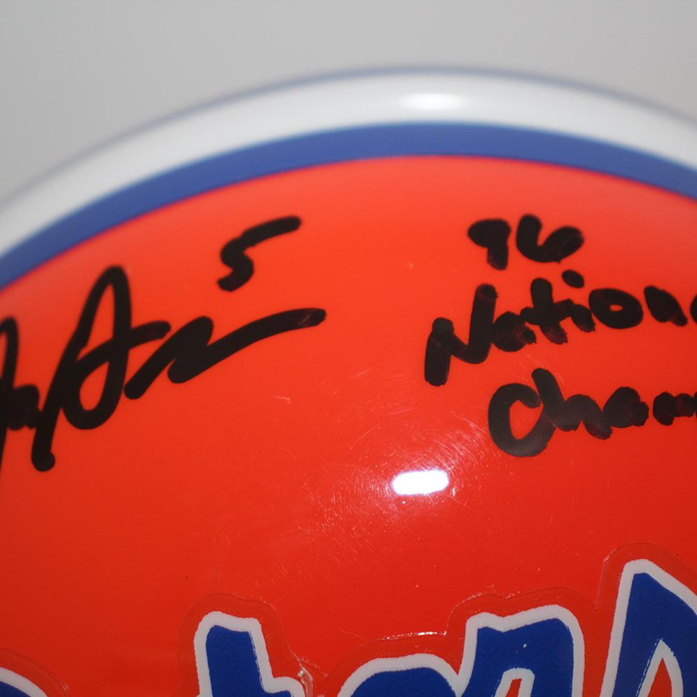 Jacquez Green Florida Gators Autographed Signed Schutt Mini Helmet w/ 96 National Champs Inscription - Certified Authentic Image a
