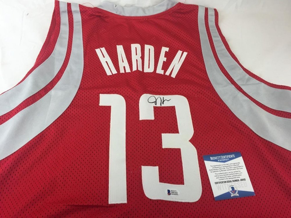 pretty nice c5115 809ff James Harden Autographed Signed Jersey Rockets Basketball ...