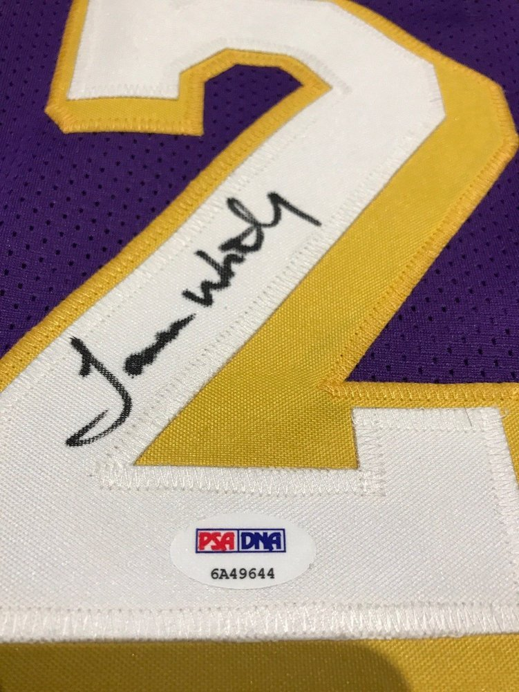 72964097af1 ... James Worthy Autographed Signed Autograph Los Angeles Lakers Basketball Jersey  PSA/DNA Image a
