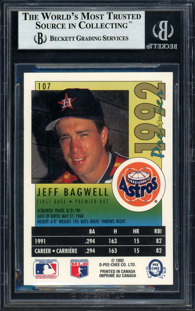 Jeff Bagwell Autographed Signed 1992 O-Pee-Chee Premier Card #107 Houston Astros Beckett BAS #11488396 Image a