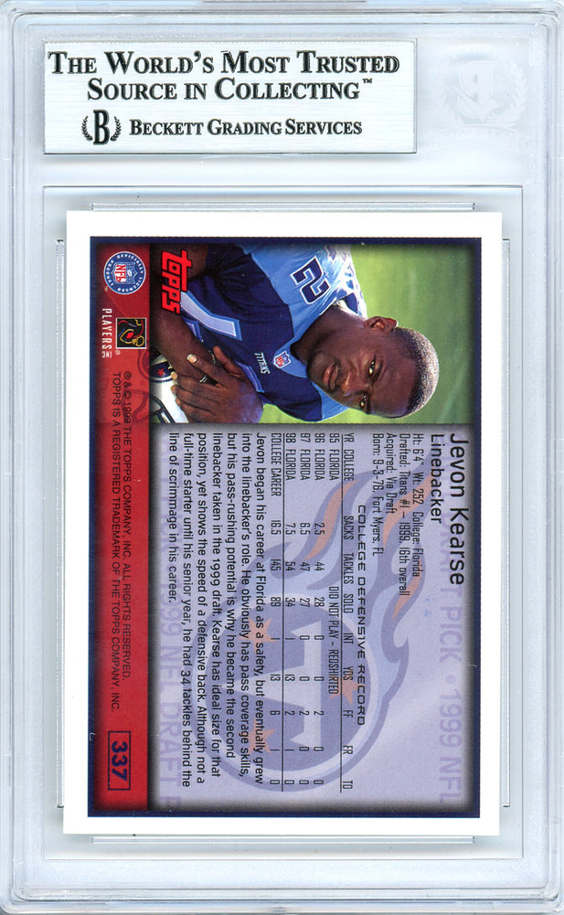 Jevon Kearse Autographed Signed 1999 Topps Rookie Card Autographed Signed  337  Tennessee Titans The Freak - Beckett Authentic. Loading Images...  69.99 ... 922dd8d37